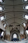 Fish eye shot of vaulted church ceiling